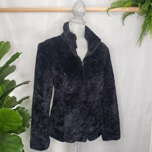 Braeton Vintage Faux Fur Teddy Black Jacket Zipper